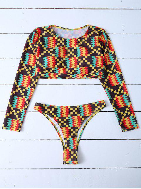 ladies Padded Cropped Rashguard Bathing Suit - MULTICOLOR M Mobile