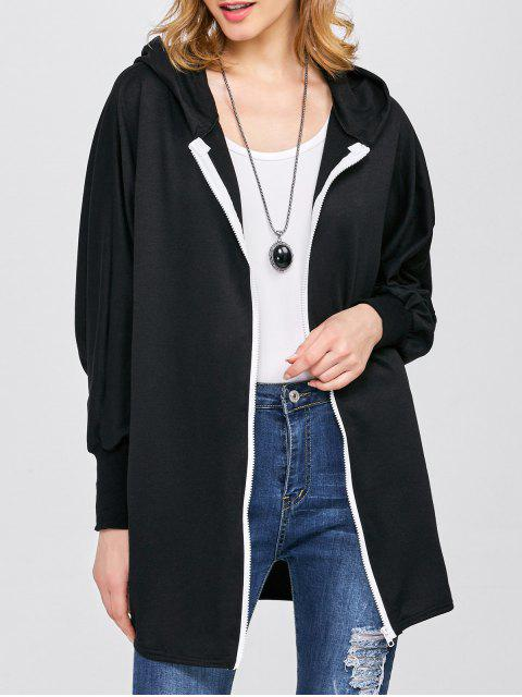 sale Batwing Sleeve Hooded Coat - BLACK L Mobile