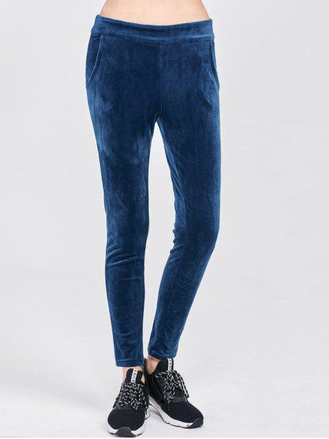 chic Velour Pants with Pockets - BLUE XL Mobile