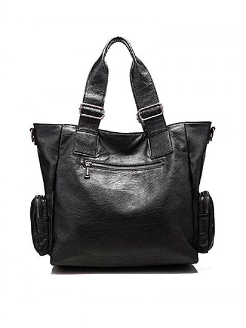 latest Studded Faux Leather Double Pocket Tote Bag -   Mobile
