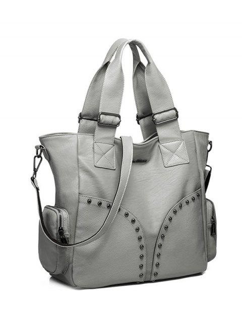 fashion Studded Faux Leather Double Pocket Tote Bag -   Mobile
