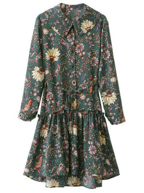 latest Ruffle Floral Vintage Dress - GREEN ONE SIZE Mobile