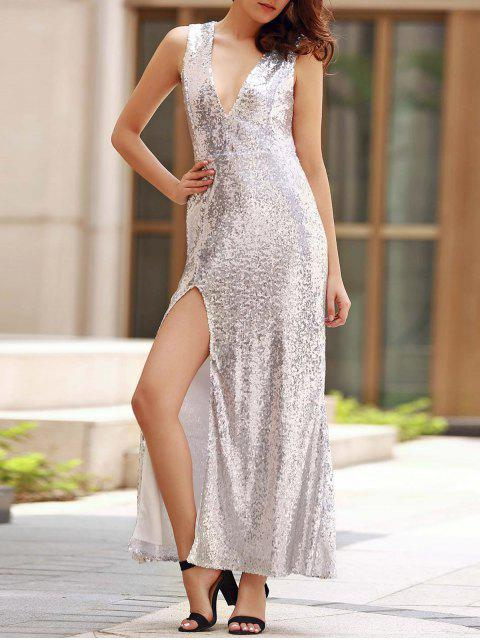 Backless Sequins Zustell-Ansatz Sleeveless Maxi Kleid - silber XS Mobile