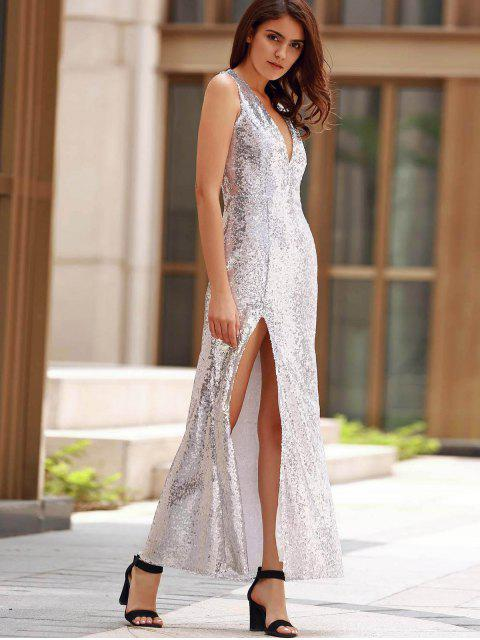 best Backless Sequins Formal Long Sparkly Dress - SILVER XL Mobile