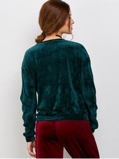 fancy Drop Shoulder Oversized Velvet Sweatshirt - BLACKISH GREEN ONE SIZE Mobile