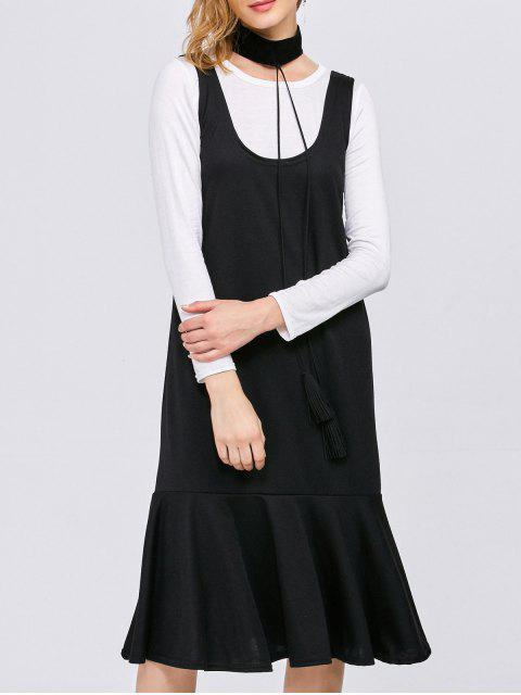 shop Long Sleeve T-Shirt with Tank Dress - WHITE AND BLACK M Mobile