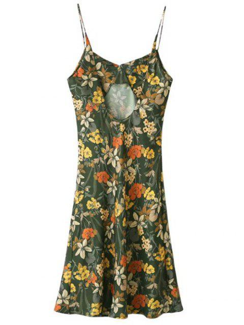 women Cut Out Tiny Floral Slip Dress - ARMY GREEN L Mobile