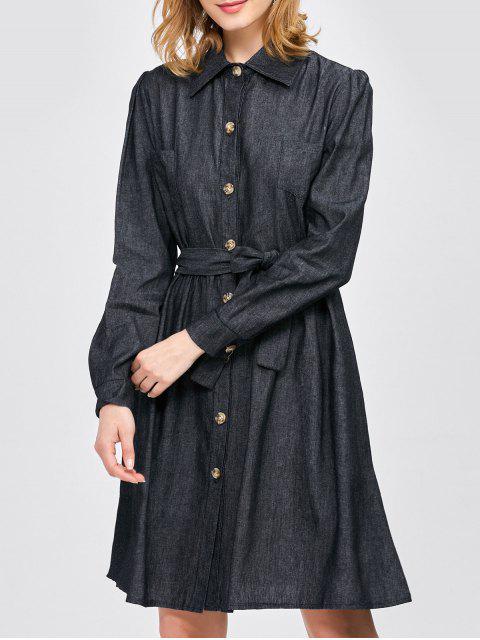 lady Belted Jean Shirt Dress - BLACK L Mobile