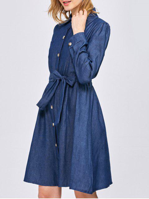 new Belted Jean Shirt Dress - BLUE L Mobile