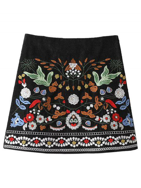 fashion Corduroy Embroidered A-Line Skirt - BLACK S Mobile