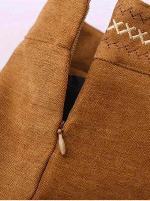 womens Embroidered Corduroy Skirt - KHAKI L Mobile
