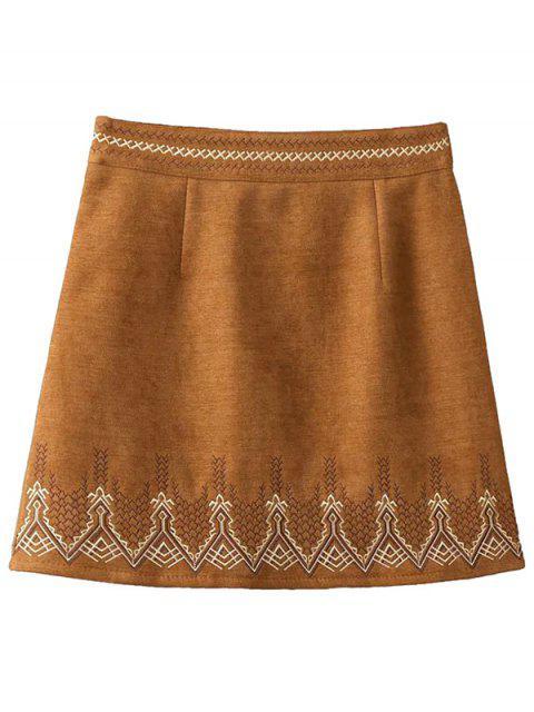 women's Embroidered Corduroy Skirt - KHAKI S Mobile