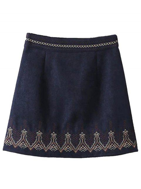 lady Embroidered Corduroy Skirt - CADETBLUE M Mobile