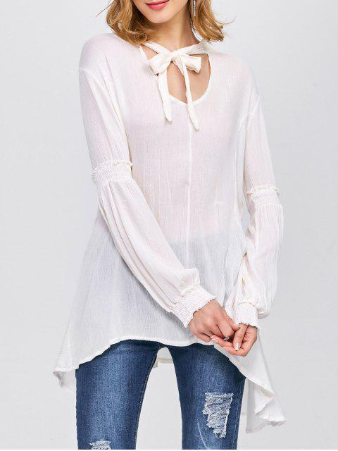 latest Balloon Sleeve Loose Top - WHITE L Mobile