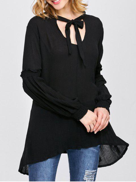 fancy Balloon Sleeve Loose Top - BLACK M Mobile