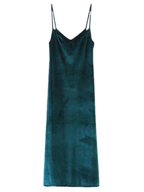 new Casual Velvet Maxi Slip Dress - GREEN L Mobile