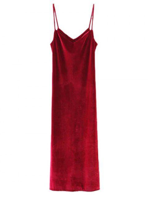 ladies Casual Velvet Maxi Slip Dress - WINE RED S Mobile