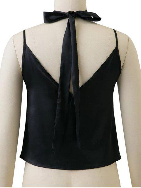 trendy Satin Camisole Top With Choker Strap - BLACK L Mobile
