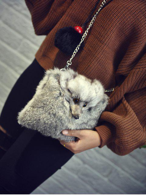 fancy Fox Faux Fur Crossbody Bag - GRAY  Mobile