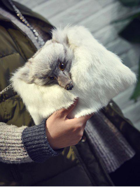 sale Fox Faux Fur Crossbody Bag - WHITE  Mobile