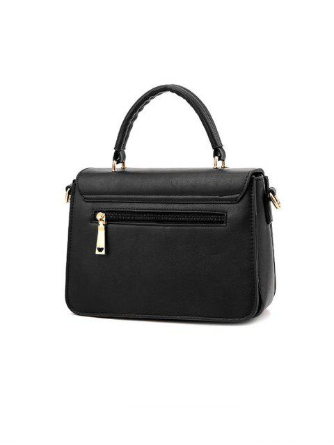 affordable Metal Embellished Faux Leather Handbag - BLACK  Mobile
