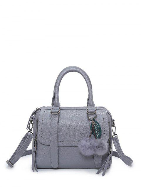ladies Pompon Straps Faux Leather Handbag - GRAY  Mobile