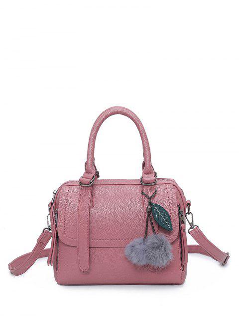 lady Pompon Straps Faux Leather Handbag - PINK  Mobile