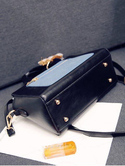 online Color Blocking Pendant Handbag - BLACK  Mobile