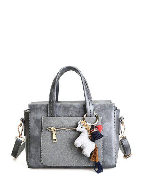 outfit Color Blocking Pendant Handbag - GRAY  Mobile