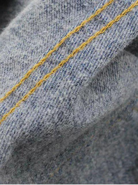 affordable High Waisted Frayed Hem Wide Leg Jeans - BLACK M Mobile