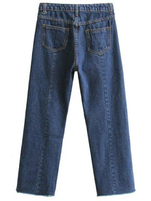 women's High Waisted Wide Leg Frayed Hem Jeans - DEEP BLUE M Mobile