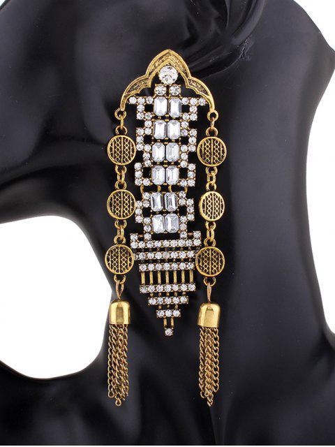 trendy Chain Tassel Rhinestone Hollow Out Earrings - GOLDEN  Mobile