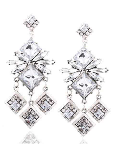 fashion Rhinestone Square Dangle Earrings -   Mobile