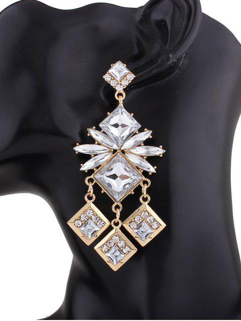 Pendants d'oreilles ornés diamants carrés - Champagne  Mobile
