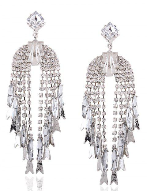 fancy Rhinestoned Water Drop Dangle Earrings - WHITE  Mobile