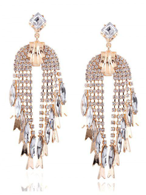 unique Rhinestoned Water Drop Dangle Earrings - CHAMPAGNE  Mobile