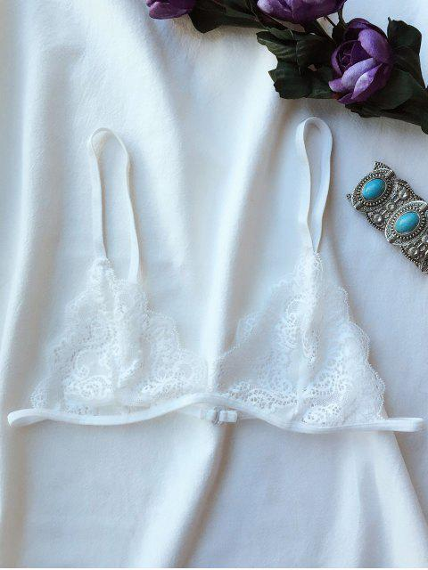 women's Plunge Unlined Lace Bra - WHITE L Mobile