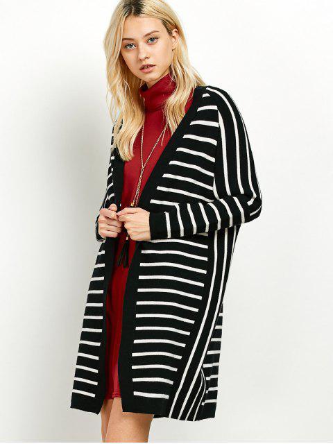 unique Striped Longline Open Cardigan - WHITE AND BLACK ONE SIZE Mobile