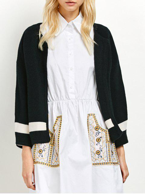 sale Dropped Shoulder Open Cardigan - BLACK ONE SIZE Mobile