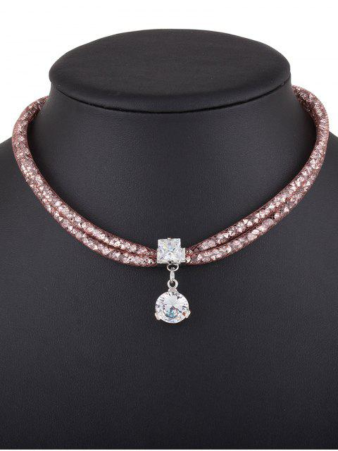 women's Rhinestone Mesh Pendant Necklace - ROSE GOLD  Mobile