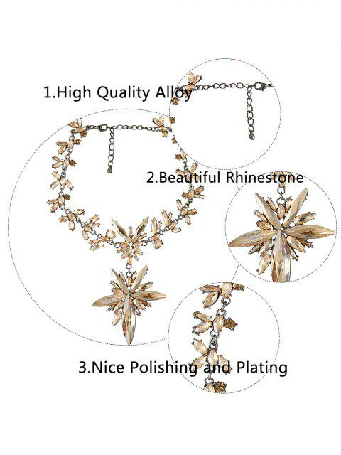 fashion Polished Rhinestone Floral Necklace - CHAMPAGNE  Mobile