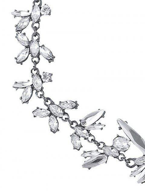 chic Polished Rhinestone Floral Necklace -   Mobile