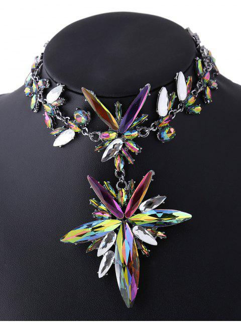 fancy Polished Rhinestone Floral Necklace - COLORFUL  Mobile
