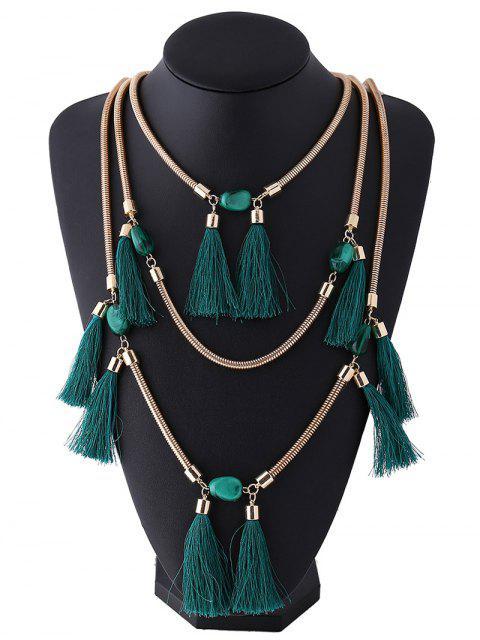 sale Multilayer Tassel Pendant Necklace - DEEP GREEN  Mobile