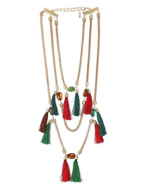 affordable Multilayer Tassel Pendant Necklace - COLORFUL  Mobile