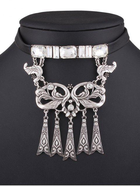 best Rhinestone Faux Leather Floral Necklace -   Mobile