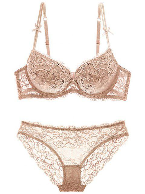 shops Double Straps Bowknot Lace Panel Bra Set - SKIN COLOR 80A Mobile