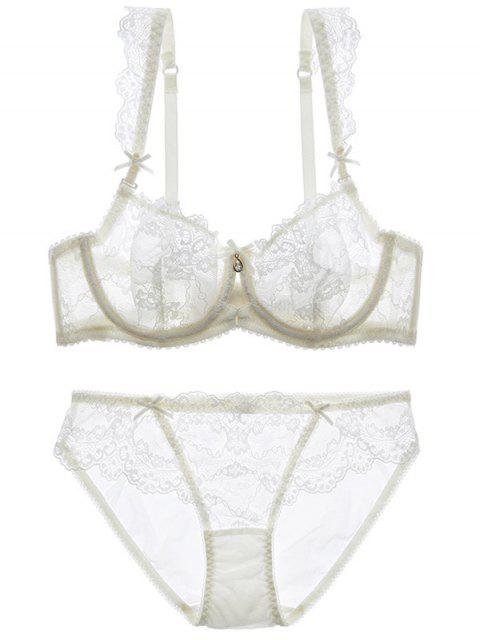 best Bowknot Lace Strap Rhinestone Sheer Bra Set - WHITE 75A Mobile