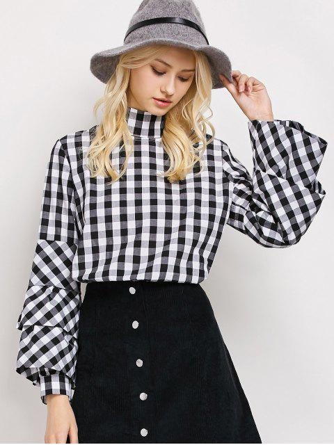 trendy High Neck Checked Blouse - PLAID M Mobile