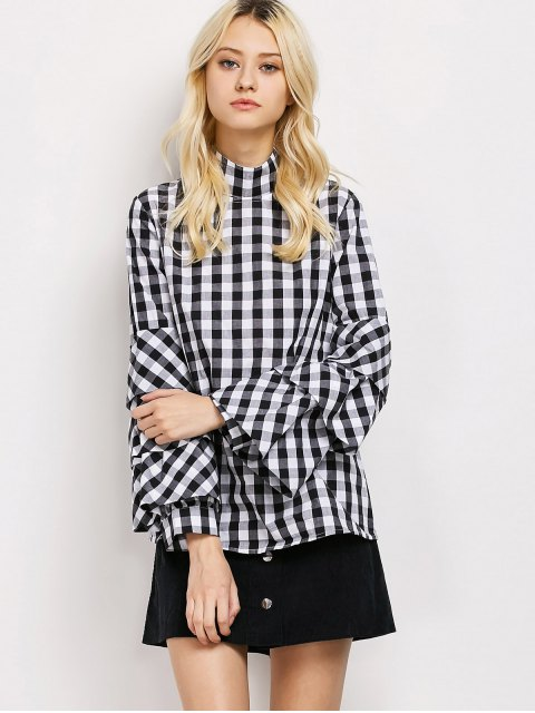 shops High Neck Checked Blouse - PLAID XL Mobile